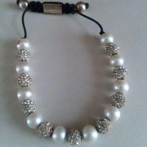 Faux pearl bracelet w/ crystals